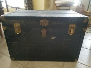 Rare 1800s Steam Chest With Wooden Insert