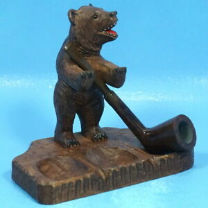 Antique Swiss Black Forest Wood Carved Pipe Holder Display Stand Bear Brienz