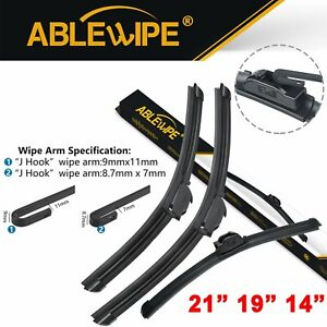 Ablewipe 21 19 14 Fit For Mazda Protege5 2003 2002 Front Rear Wiper Blades
