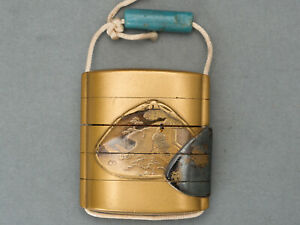 Superb Makie Inro Antique Japanese Lacquered Case For Holding Small Objects