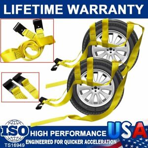Tire Basket Straps Wrecker Car Hauler Truck Tow Dolly Tire Wheel Tie Down 2 Pack