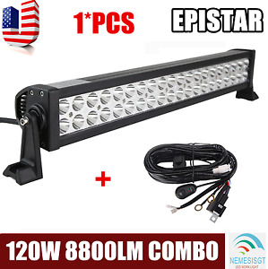 22inch 120w Combo Led Light Bar Off road Driving Lamp Suv Boat 4wd wiring Kit