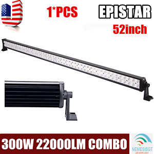 52 Inch 300w Led Light Bar Combo Beam Straight Drl Fog Lamp Offroad Truck 4wd 53