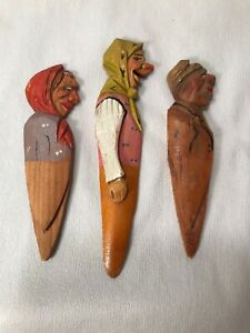 3 Vintage Anri Hand Carved Wooden Bookmarks Women Painted Profile 3 75 4 5 L