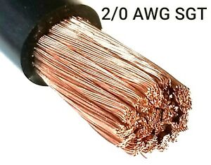 2 0 Gauge Battery Cable Black Sae J1127 Sgt Automotive Power Wire Sold Per Foot