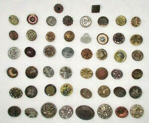 Lot B 50 Victorian Vintage Metal Buttons From Grandmothers Estate