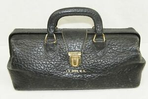 Vintage Antique Lilly Black Leather Doctor Md Bag Physician House Call Travel