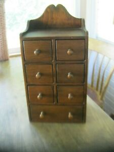 Primitive Vintage 7 Drawer Wood Apothecary Spice Cabinet