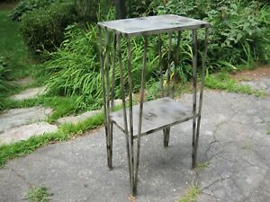 Vintage Wrought Iron Side Table Art Deco Plant Stand Mid Century 36 Tall Heavy