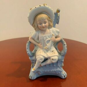Beautiful Vintage German Bisque Figurine Girl Sitting On Chair