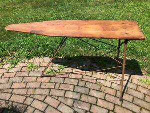 Antique Wooden Ironing Board Rustic Primitive Vintage Clothing Folding Table