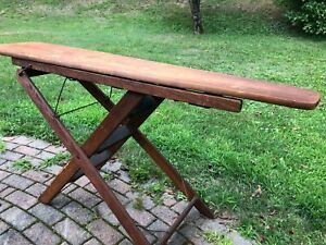 Antique Vintage Wooden Ironing Board Combination