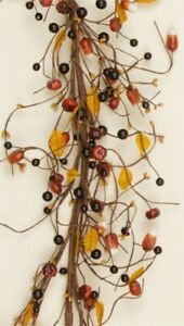 Country Primitive Fall Mixed Piperry Garland W Pumpkins And Candy Corn 54
