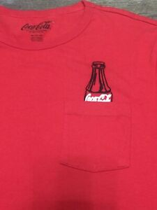 Coca Cola Coke Shirt XXL Red w/ Embroidered Bottle Coming Out Of Pocket logo