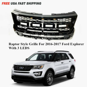 Fit For 2016 2017 Ford Explorer Raptor Style Mesh Glossy Black Grille With Led