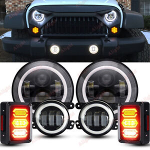 7 Inch Round Led Headlights Halo Angle Fog Tail Kit For 07 18 Jeep Wrangler Jk
