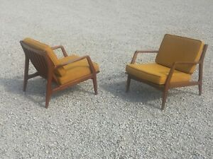Pair Danish Mid Century Modern Selig Lounge Chairs Vintage