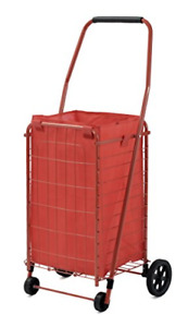 Large Folding Shopping Cart Utility Grocery Trolley Laundry Basket W Liner