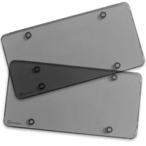 2 Motorcycle Smoked Tinted License Plate Covers Protectors Unbreakable