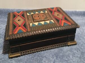 Ornate Hand Carved Painted Wooden Box Signed By S Kolesnikoff With Sticker
