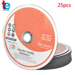 25 Pack 7 x1 16 x7 8 Cut off Wheel Metal Stainless Steel Cutting Discs