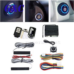 Car Auto Alarm Security System Key Start Keyless Entry Push Button Remote Kit