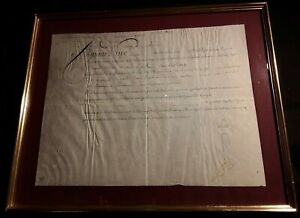 King Louis Xvi Autograph Document On Parchment In Frame Signed On May 9 1783