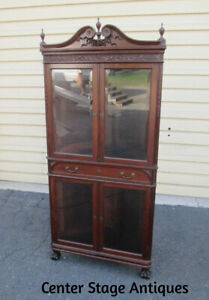 58425 Antique Victorian Carved Corner Curio Cabinet Stunning