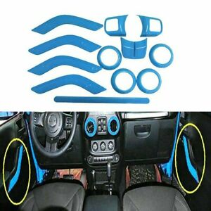 12pc Blue Steering Wheel Cover Sticker Trim For Jeep Wrangler Rubicon 2011 2018