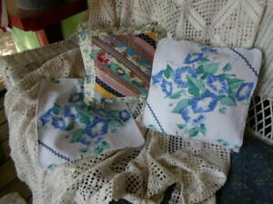 2 Wilendur Morning Glory Pillow Covers Plus Vtg Quilt Top Cover All 3 One Bid