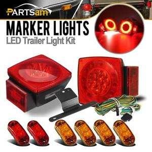 Marine Square Stop Turn Tail Led Light Kit 2red 4amber Trailer Truck Side Marker