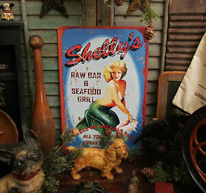 Primitive Antique Vtg Style Hot Pin Up Girl Shelly S Bar Grill Mermaid Tin Sign