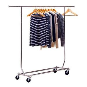 Heavy Duty Single Rail Clothing Garment Rolling Collapsible Rack Hanger Wheels