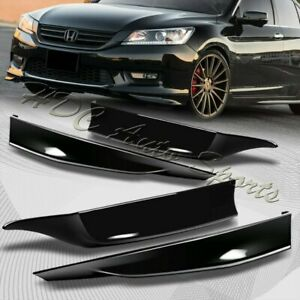 For 13 15 Accord 4 dr Hfp style Painted Black Front rear Bumper Spoiler Lip 4pc