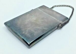 Vintage Sterling Silver Ladies Calling Card Case W Chain Engraved Butterflies