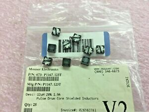 9 Piece Lot P1167 123t Pulse Fixed Ind 12uh 1 9a 57 Mohm Smd
