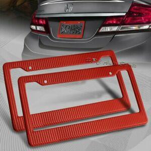 2 X Jdm Red Carbon Fiber Look License Plate Frame Cover Front Rear Us Size