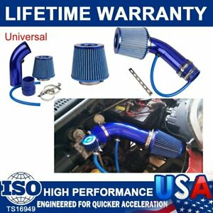 New Blue 3 Car Cold Air Intake Filters Alumimum Induction Kit Pipe Hose System
