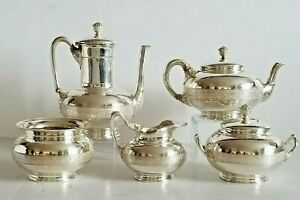 Exceptional 19c Sterling Silver Tiffany Co Coffee Tea Service Set Boxed