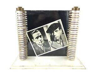 Vintage Large Stacked Column Lucite Brass Picture Frame