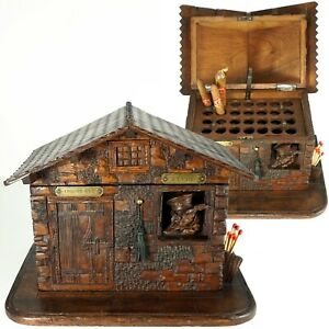 Antique Black Forest Hand Carved Wood Cigar Caddy Box Fox Chalet Cabin