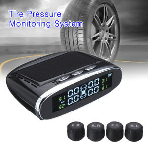 Car Tpms 4 External Sensors Solar Powered Lcd Display Auto Security Alarm System