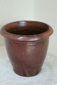 Early Antique Large Red Ware Redware Crock Jar