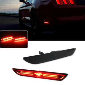 Fit 2015 2018 Ford Mustang Rear Side Marker Led Lights Black Housing