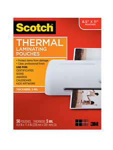 Scotch Thermal Laminating Pouches 8 9 X 11 4 inches 5 Mil Thick 50 pack