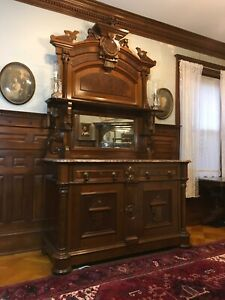 Ornate Victorian Renaissance Revival Sideboard With Mirrored And Marble Top