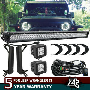 For Jeep Wrangler Tj Lj 50 700w Led Light Bar 2x 4 400w Pods Mount Bracket