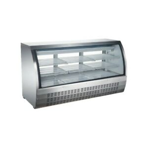 Peakcold 64 Curved Glass Refrigerated Deli Case Meat Showcase Stainless