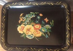 Vintage Black Toleware Tray Floral Design Painted Large Tray 13 X 17 1 2
