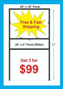3 pack 24 X 18 Metal H frame For Real Estate Signs W 24 X 6 Rider Free Ship